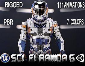 Sci-Fi Armor 6 3D model animated