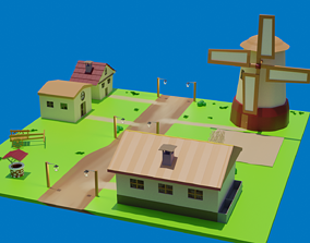 low-poly Low Poly Village 3D Model