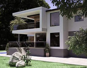 Modern Furnished Realistic Double Story House 3D model 1