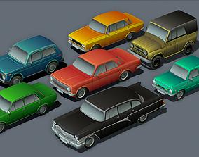3D asset USSR Cartoon cars