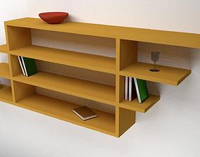 Wooden Shelf 3D model realtime