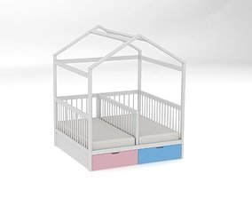 3D model Bed for twins