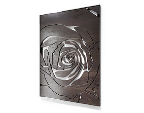 Decorative wall panel Rose in a chrome frame 3D