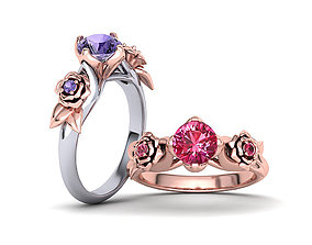 Unique Flower Engagement ring 1ct stone 3dmodel