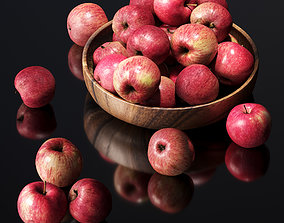3D asset Apples in a wooden bowl