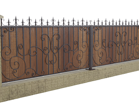 Wrought iron fence 3D model building