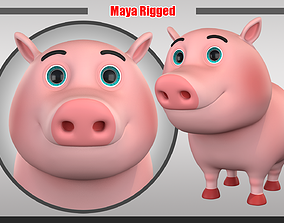 3D model VR / AR ready Cartoon Pig Rigged