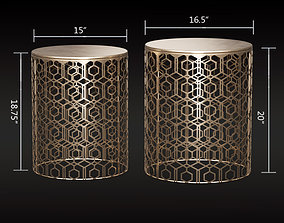 Adeco Decorative Nesting Round Side End Accent 3D model 1