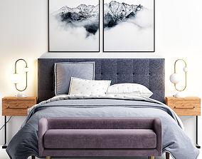 3D model Westelm Grid-Tufted Upholstered Tapered Leg Bed