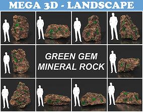 Low Poly Green Gem Mineral Rock 210823 3D asset