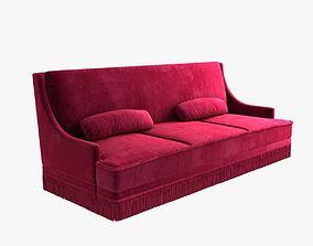 3D model custom made red velvet sofa