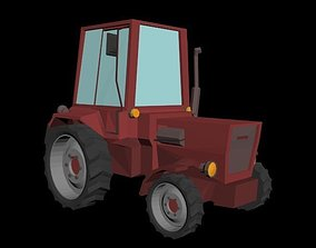 Tractor Low Poly 3D model game-ready