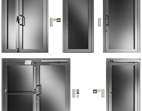 Metal swing fire doors 3D model elements