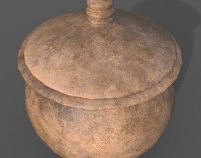 Medieval Terracotta Pot with Lid 3D model