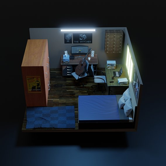 Low poly bed room