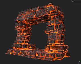 3D asset Low poly Lava Temple Block 08 181116