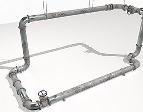 Modular rusty pipes pack 2 3D asset