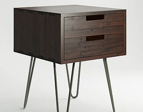 3D Vintage Mid Century Style Industrial Side Table