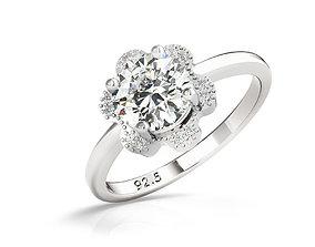 ring cad halo diamond engagement ring 3dm file