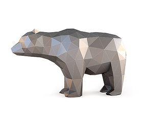 Low Poly Bear 3D asset game-ready