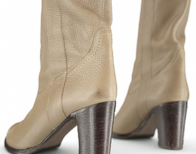 3D asset Leather Boots Beige