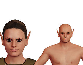 3D model rigged Elves couple-3