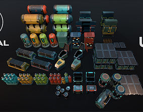 3D model low-poly Sci-Fi Objects Pack 3