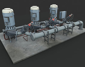Machinery device Pump station 3D PBR