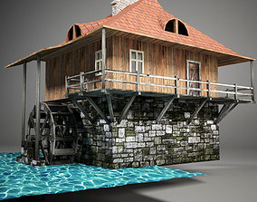 Water mill 3D model animated