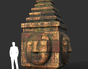 Low poly Mossy Brick Ruin Asia Temple 05 3D asset