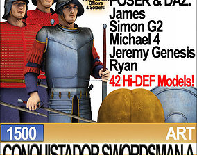3D Conquistador Swordsman Props Poser Daz A 1500