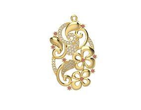 jewel Women pendant with gems 3dm stl CAD