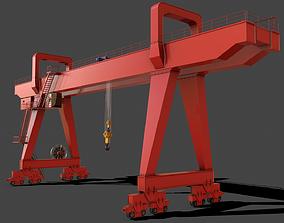 3D model PBR Double Girder Gantry Crane V2 - Red
