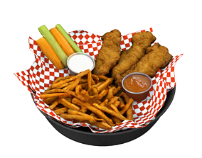 Breaded deep fried chicken finger with fries and 3D asset