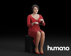3D Humano Sitting and eating woman 0613