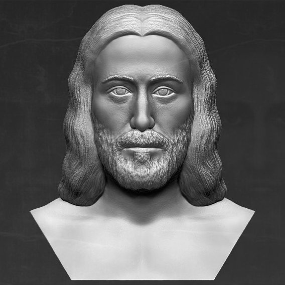 Jesus bust Shroud of Turin based on Shroud of Turin