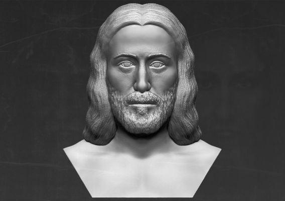 Jesus bust Shroud of Turin based on Shroud of Turin