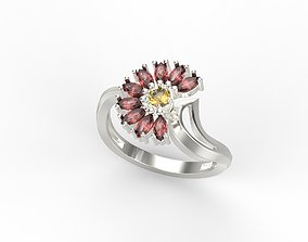 Women ring flower with gems US sizes 6 7 8 9 10 CAD 3dm 1