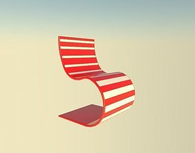 red and white seat 3D asset