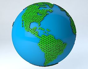 3D model rigged Earth Triangulated Geometry Design