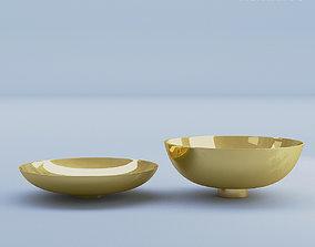 flatware Gold Bowls Metal 3D
