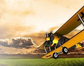 Biplane 3D asset
