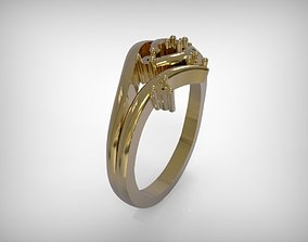3D print model Jewelry Ring Golden Twisted Design