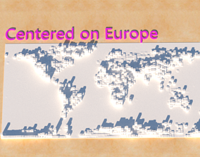 Masaige world map with altitude Collection 3D