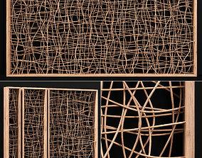 Wicker partition wall wood n1 3D model