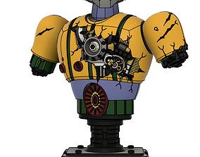 steel jeeg battle damaged bust figure 3d model
