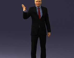 Curly man in suit 0475 3D