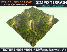 3D asset Low poly Realistic Green Mountain Terrain 07 - 2