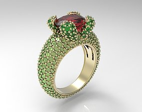 3D print model Ring with oval gem