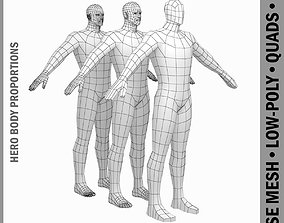 Male Hero Low Poly Base Mesh in A-Pose 3D asset game-ready
